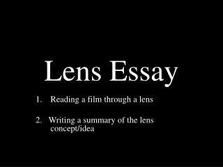 Lens Essay