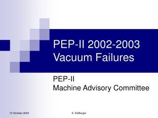 PEP-II 2002-2003 Vacuum Failures