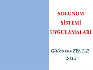 SOLUNUM SİSTEMİ                                 UYGULAMALARI Gülbanu ZENCİR-2013