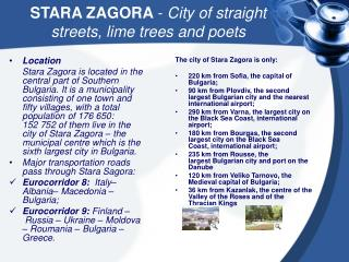 STARA ZAGORA -  C ity of straight streets, lime trees and poet s