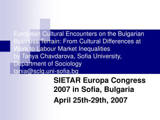European Cultural Encounters on the Bulgarian Business Terrain: From Cultural Differences at Work to Labour Market Inequ