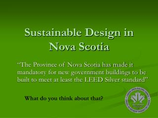 Sustainable Design in Nova Scotia