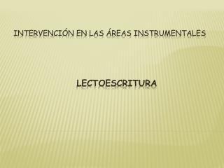 Intervención en las áreas instrumentales lectoescritura