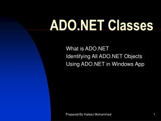 ADO.NET Classes