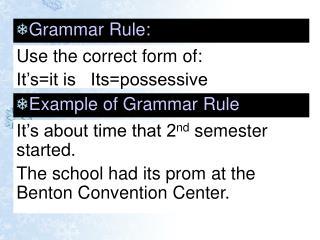 Grammar Rule: