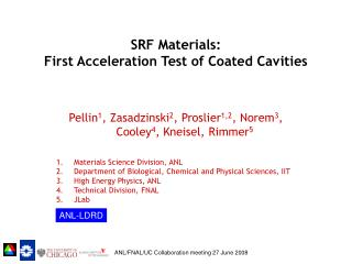SRF Materials:  First Acceleration Test of Coated Cavities