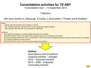 "Consolidation activities for TE-ABT ""Consolidation Day"" – 12 September 2013 V.Mertens"