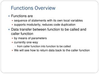 Functions Overview