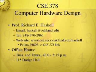 CSE 378 Computer Hardware Design