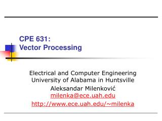 CPE 631:  Vector Processing