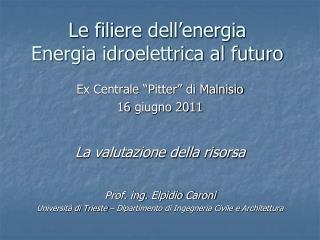 Le filiere dell'energia Energia idroelettrica al futuro