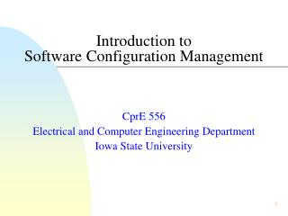 Introduction to  Software Configuration Management