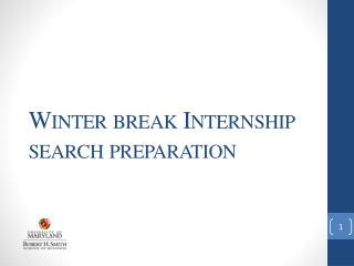Winter break Internship search preparation