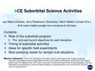 A CE Suborbital Science Activities