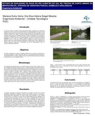 Mariana Dutra Vieira; Dra Elisa Helena Siegel Moecke  Engenharia Ambiental – Unidade Tecnológica