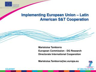 Implementing European Union – Latin American S&T Cooperation