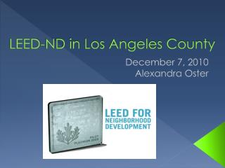 LEED-ND in Los Angeles County