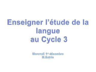 Enseigner  l'étude de la langue  au  Cycle 3 Mercredi 1 er  décembre M.Satrin