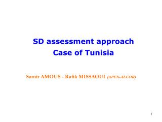 SD assessment approach  Case of Tunisia