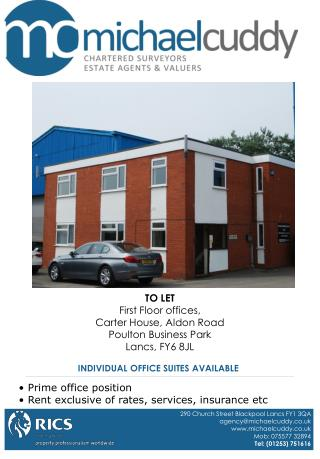 TO LET First Floor offices,  Carter House, Aldon Road Poulton Business Park Lancs, FY6 8JL
