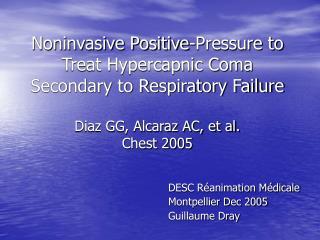 DESC Réanimation Médicale Montpellier Dec 2005 Guillaume Dray