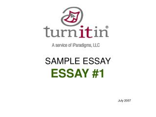 SAMPLE ESSAY ESSAY #1