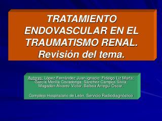 TRATAMIENTO ENDOVASCULAR EN EL TRAUMATISMO RENAL. Revisi n del tema.