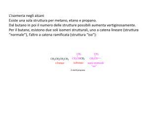 L'isomeria negli alcani Esiste una sola struttura per metano, etano e propano.