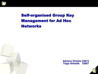Self-organised Group Key Management for Ad Hoc Networks