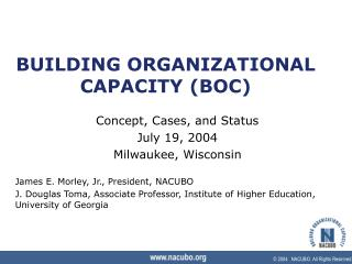 BUILDING ORGANIZATIONAL CAPACITY (BOC)
