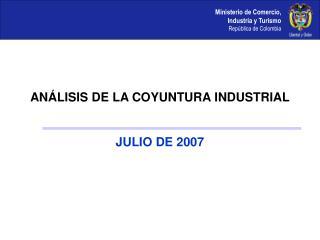 ANÁLISIS DE LA COYUNTURA INDUSTRIAL JULIO DE 2007