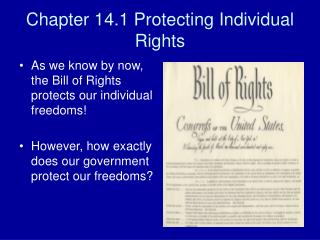 Chapter 14.1 Protecting Individual Rights