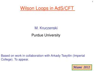 Wilson Loops in  AdS /CFT