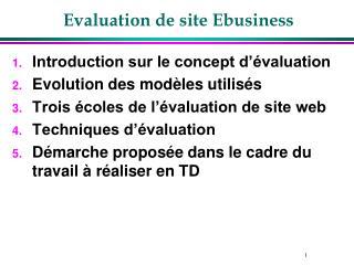 Evaluation de site Ebusiness