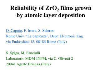 Reliability of ZrO 2  films grown by atomic layer deposition