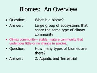 Biomes:  An Overview