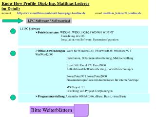 Know How Profile  Dipl.-Ing. Matthias Lederer im Detail: