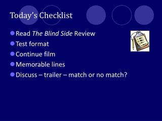Today�s Checklist