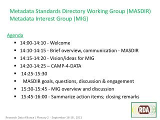 Metadata Standards Directory Working Group (MASDIR) Metadata Interest Group (MIG)