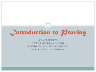 Introduction to Proving