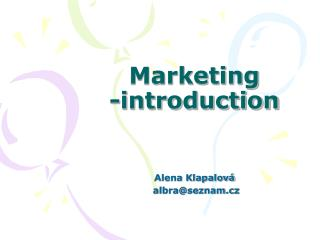Marketing  -introduction