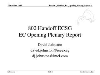 802 Handoff ECSG EC Opening Plenary Report