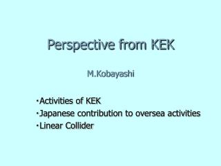 Perspective from KEK M.Kobayashi