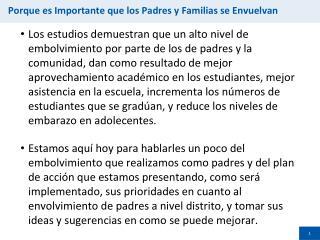 Porque es Importante que los  Padres y  Familias  se  Envuelvan