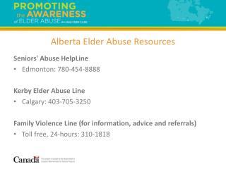 Alberta Elder Abuse Resources