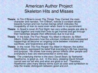 American Author Project Skeleton Hits and Misses