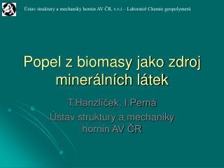 Popel z biomasy jako zdroj minerálních látek