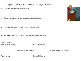 Chapter 11, Group  Communication	   pgs. 193-205