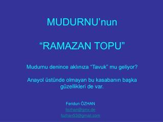 Feridun ÖZHAN fozhan@gmx.de fozhan53@gmail