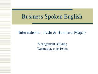 Business Spoken English